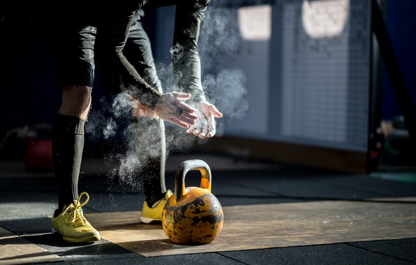 Picture man, crossfit, kettlebell, Russian dumbbell, talc