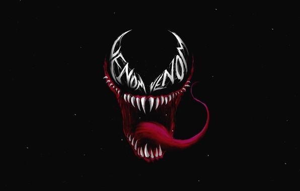 Picture language, teeth, art, mouth, black background, comic, MARVEL, Venom, Venom