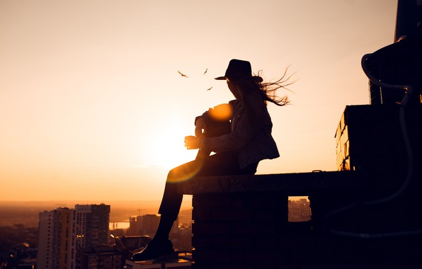 Picture roof, girl, the sun, the city, Lenar Abdrakhmanov, Angelina Zamakhina