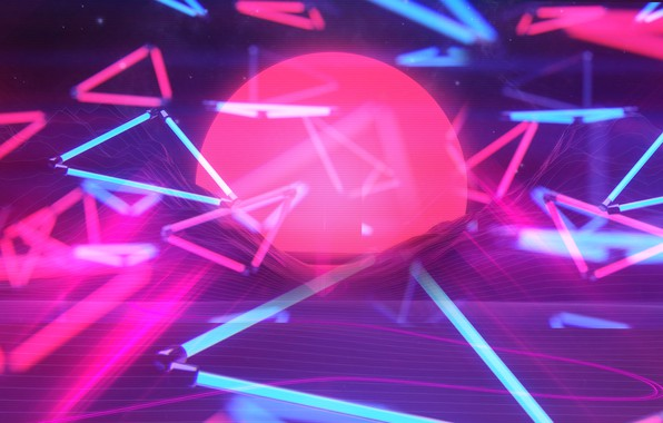 Picture The sun, Music, Neon, Background, Graphics, Neon, 80's, Synth, Retrowave, Synthwave, New Retro Wave, Futuresynth, …