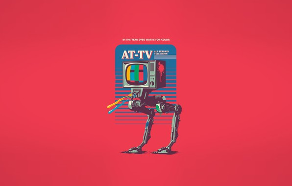 Picture Minimalism, Robot, TV, Art, Robot, All Terrain television, AT-TV, In the year 2980 war is …
