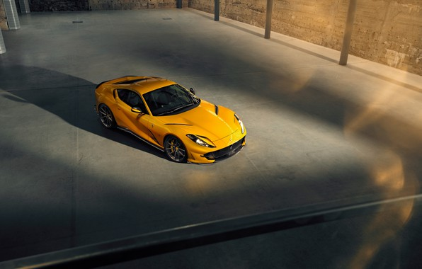 Picture machine, yellow, lights, Ferrari, drives, stylish, sports, Superfast, 812, by Novitec