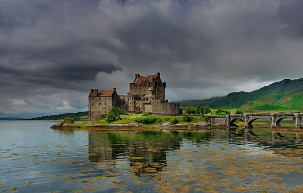 Picture greens, summer, the sky, mountains, clouds, bridge, lake, reflection, castle, overcast, hills, shore, ruffle, Scotland, …