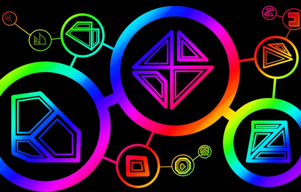 Picture rainbow, circle, triangle