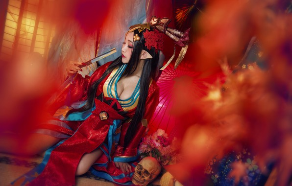 Picture chest, girl, red, face, pose, style, background, elf, skull, makeup, fan, costume, outfit, neckline, image, …