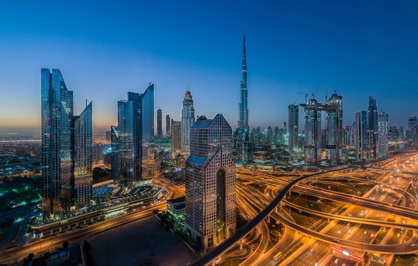 Picture night, the city, lights, blue, view, building, tower, skyscrapers, the evening, morning, lighting, Dubai, architecture, …