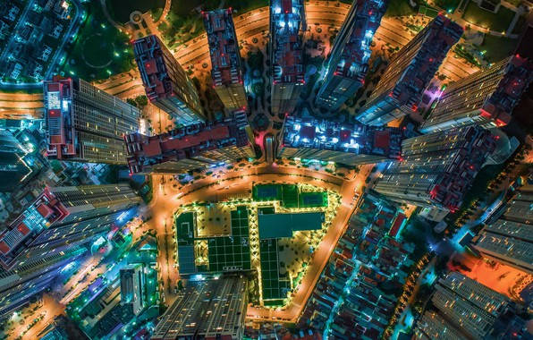 Picture light, night, the city, lights, home, China, the view from the top, skyscrapers, China
