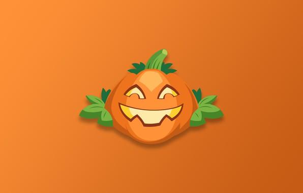 Picture Halloween, minimalism, holiday, digital art, artwork, pumpkin, simple background, orange background, glowing eyes