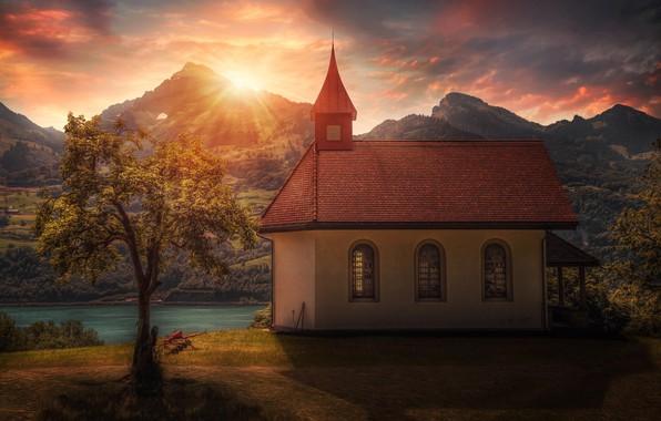 Picture the sun, tree, Church