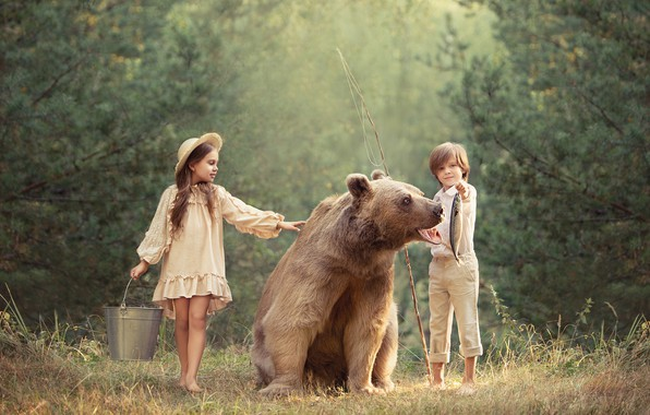 Picture boy, bear, girl