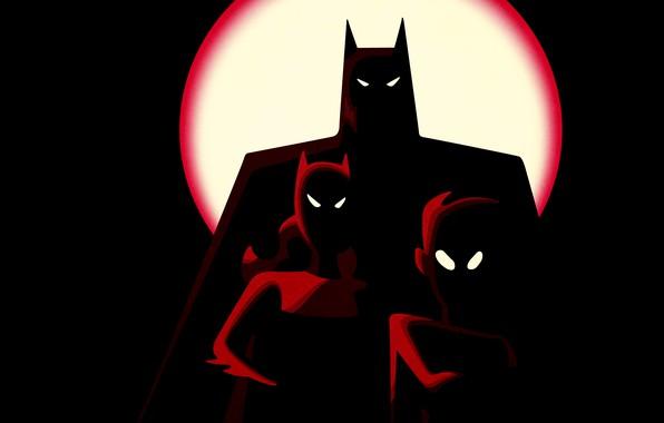Picture fantasy, Batman, minimalism, comics, Robin, digital art, artwork, mask, superheroes, black background, costume, shadow, DC …