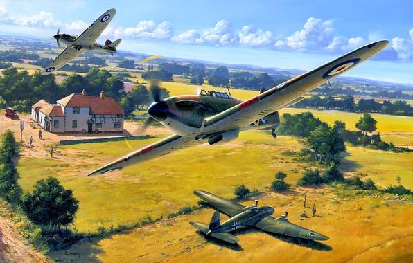 Picture Trees, House, Hurricane, RAF, pilots, He.111, Heinkel 111, Hawker Hurricane Mk.I