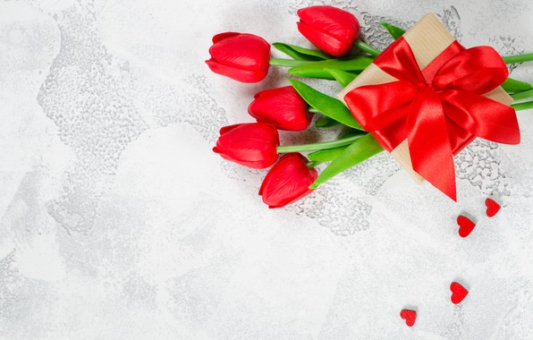 Picture love, flowers, gift, bouquet, tape, hearts, tulips, red, red, love, flowers, romantic, hearts, tulips, valentine's …