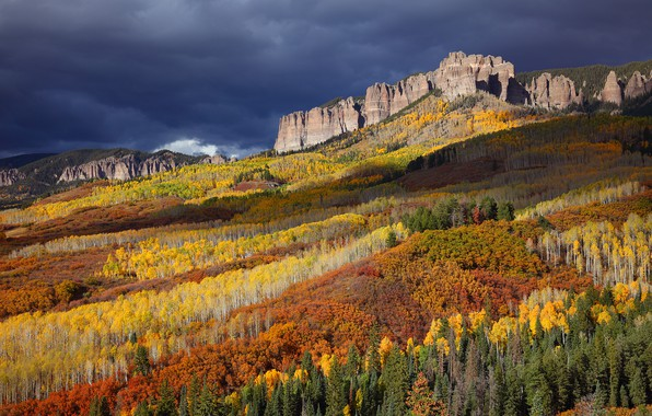 Picture autumn, forest, bright colors, mountains, clouds, rocks, tops, USA, San Juan, scenic view, national forest, …