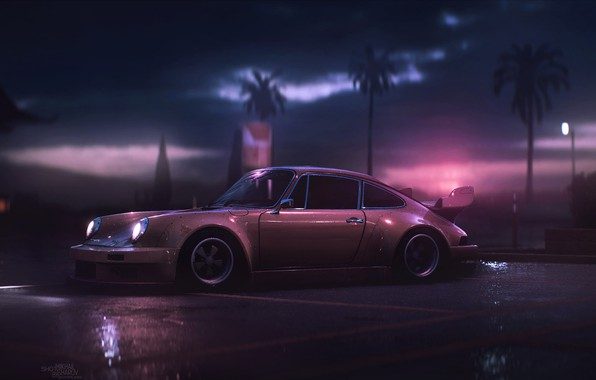 Picture Auto, 911, Porsche, Machine, Art, Porsche 911, Carrera, RSR, Side view, Synth, Game Art, Porsche ...