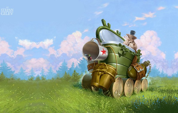 Picture summer, fantasy, mood, tank, February 23, children's, with the holiday, Stepan Gilev, Self-propelled gun. Самоходка, …
