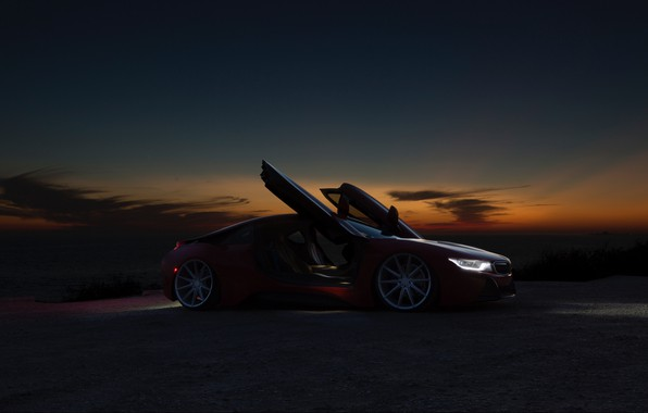 Picture night, BMW, red, BMW i8