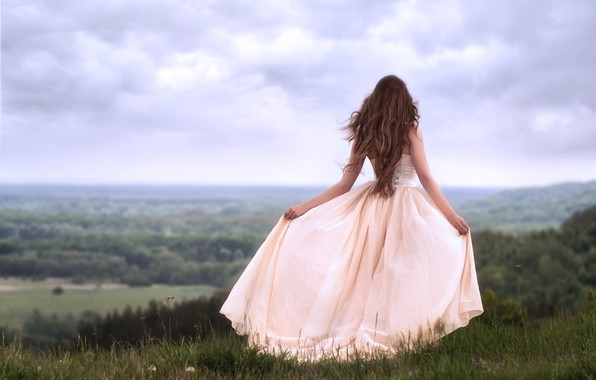 Picture girl, nature, pose, the wind, back, dress, Valentine Shepitko