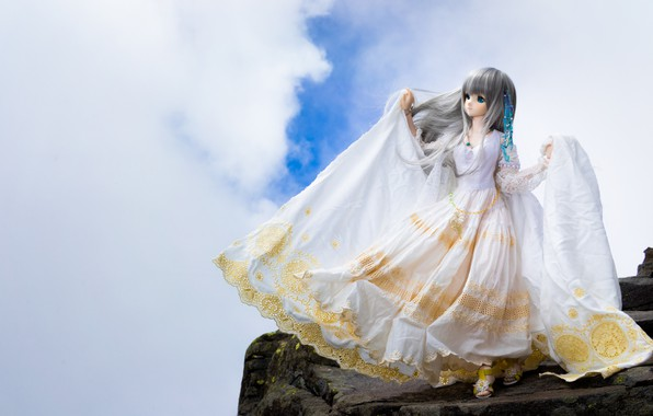 Picture clouds, doll, dress
