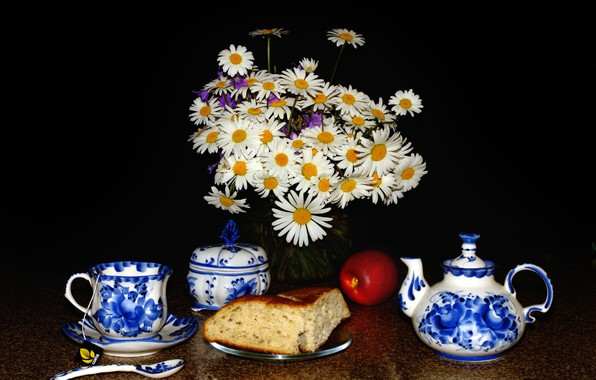 Picture flowers, table, Apple, chamomile, spoon, Cup, vase, black background, still life, muffin, saucer, teapot