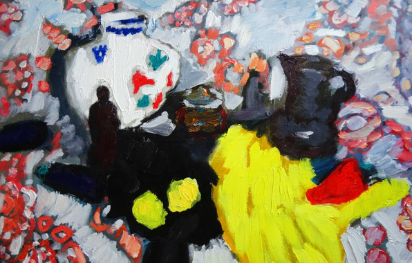 Picture 2012, Still life, The petyaev, yellow fabric, black cloth, two lemons