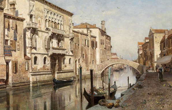 Picture 1882, Austrian painter, Austrian painter, oil on canvas, Robert Russ, View of the Palazzo del …
