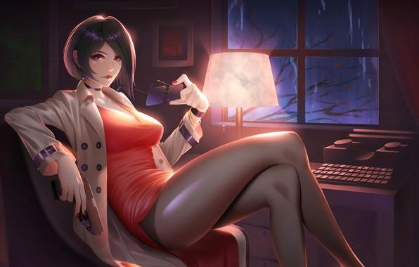 Picture gun, typewriter, gun, twilight, sexy, beautiful girl, short hair, sexy, beautiful girl, Ada Wong, Ada …