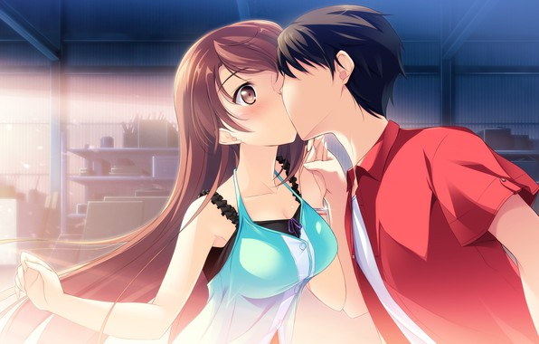 Picture kiss, garage, long hair, students, visual novel, Kono Oozora is Tsubasa wo Hirogete, boy and …
