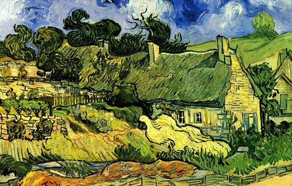 Picture house, Vincent van Gogh, Thatched Cottages, at Cordeville