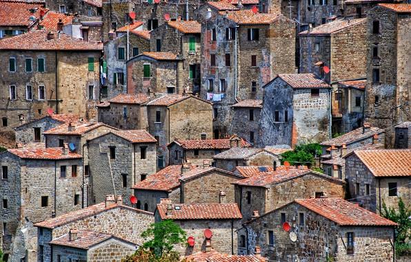Picture Italy, Medieval, Sorano, satellite dish