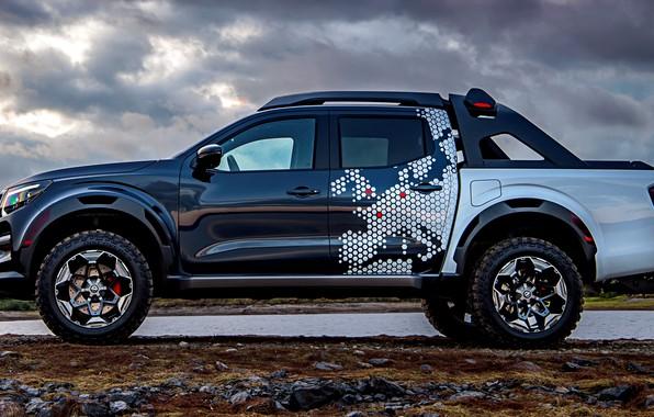 Picture clouds, shore, profile, Nissan, pickup, 2018, Navara, Dark Sky Concept