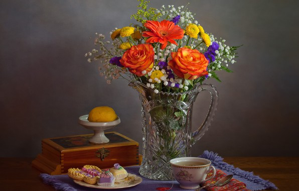 Picture flowers, style, lemon, tea, roses, bouquet, mug, Cup, box, still life, chrysanthemum, cakes, napkin, gerbera, …