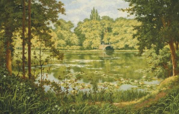 Picture French painter, Forest lake, French painter, Henri Biva, Henri Biwa, A woodland lake