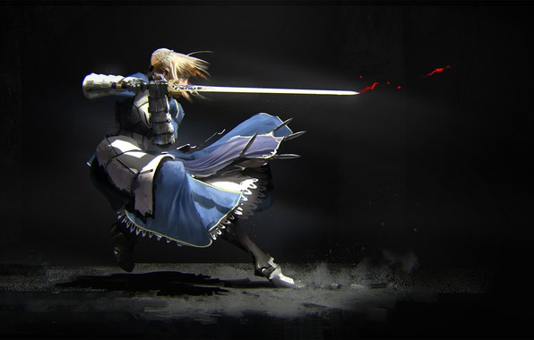 Picture girl, movement, sword, the saber, Fate stay night, Fate / Stay Night
