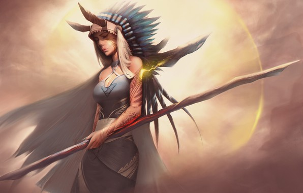 Picture Girl, Fantasy, Art, Magic, Feathers, Staff, Shaman, Indian Roach