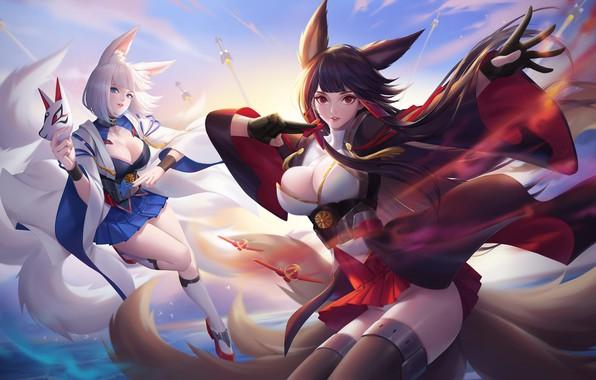 Picture anime, art, Fox, kitsune, Akagi & Kaga, Citemer Liu