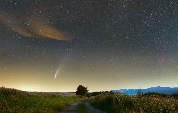 Picture road, comet, road, comet, NEOWISE, Galina Oszywa, nebula Heart and Soul, Heart and Soul nebula