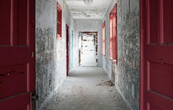 Picture wall, door, corridor