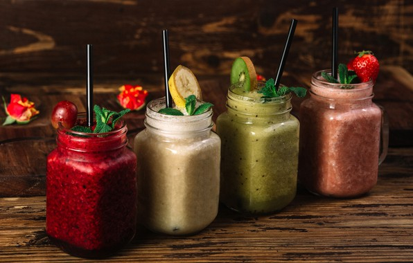 Picture cherry, berries, kiwi, strawberry, fruit, banana, drinks, mint, wood, fresh, smoothies