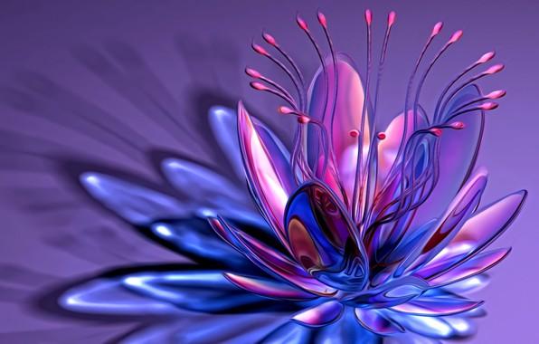 Picture line, abstraction, rendering, fantasy, petals, curves, stamens, lilac background, причудливый цветок