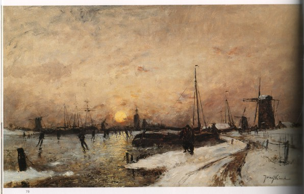 Picture winter, road, the sun, ship, mill, JONGKIND