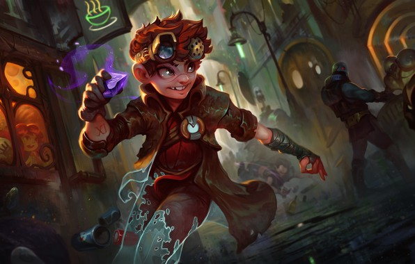 Picture the situation, fantasy, art, escape, League of Legends, rune, theft, Dave Greco, Ajuna_the Tinker Thief!