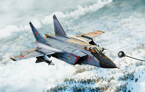 Picture Winter, Figure, Fighter, Art, MiG, MiG, BBC, Interceptor, The Russian air force, Foxhound, OKB MiG, …