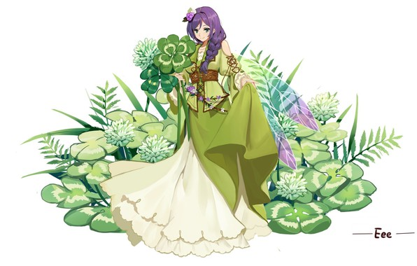 Picture fairy, white background, clover, braid, wings, lacing, purple hair, flower in hair, green dress, Love …