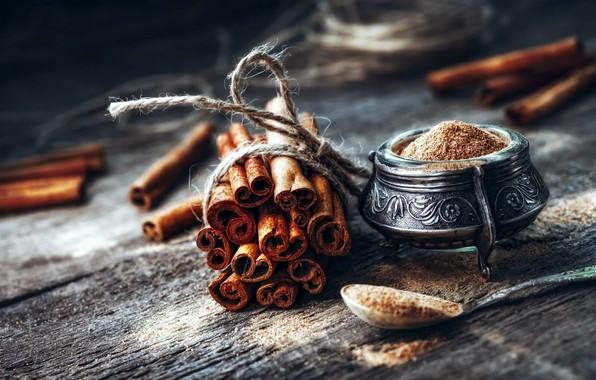 Picture sticks, cinnamon, wood, spices