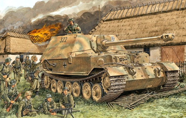 Picture MG-42, Elefant, The Wehrmacht, 653 Heavy Tank Hunter Department, Fence, Burning house, soldiers