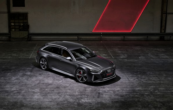 Picture Audi, top, universal, RS 6, 2020, 2019, dark gray, V8 Twin-Turbo, RS6 Avant