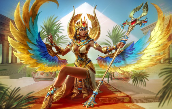 Picture Girl, Style, Decoration, Goddess, Fantasy, Art, Gold, Fiction, Characters, Game Art, Illustration, Simon Eckert, SMITE, …