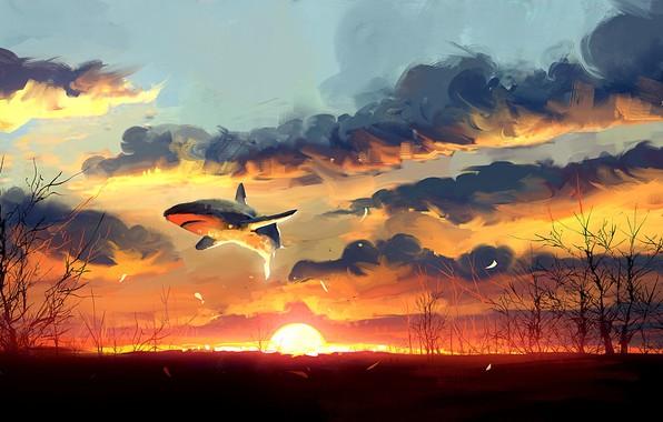 Picture Sunset, The sun, Shark, Fantasy, Art, Fiction, Concept Art, Dominik Mayer, by Dominik Mayer, 30 ...