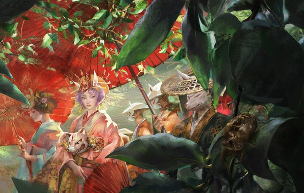 Picture crown, kimono, werewolf, red umbrella, the procession, green foliage, demon mask, nine-tailed Fox, by Amber